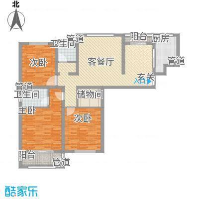 海情丽都13.20㎡高层A户型3室2厅2卫1厨