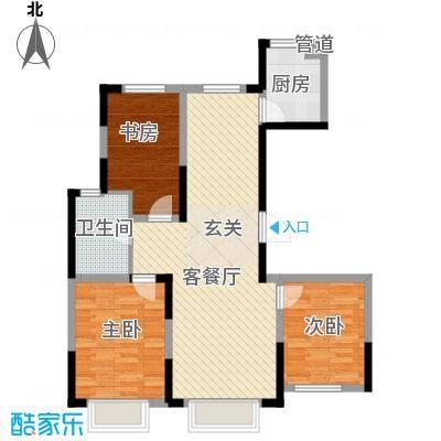 力旺美林16.48㎡B户型3室2厅1卫1厨