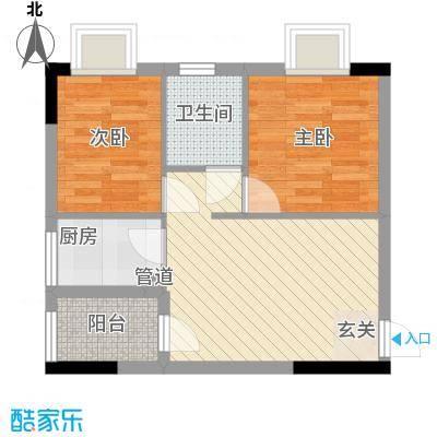 天明豪庭64.64㎡1栋07户型2室1厅2卫1厨