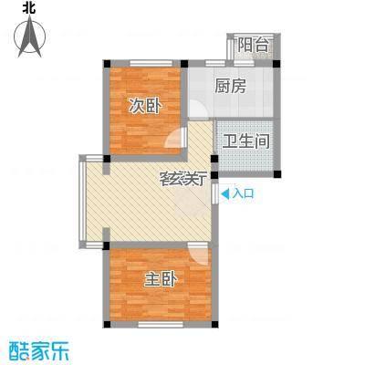 彩虹风景73.20㎡e户型2室2厅1卫1厨