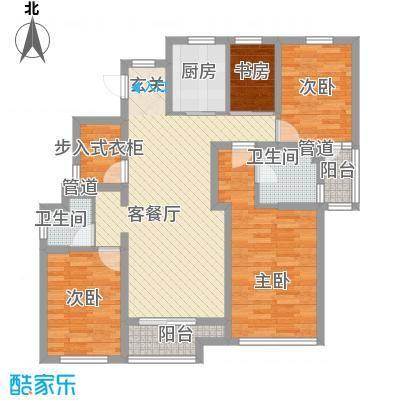 永达花园123.00㎡户型3室2厅2卫1厨