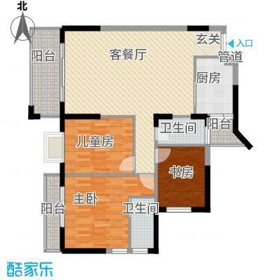 嘉亨湾125.00㎡户型3室