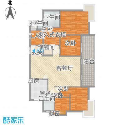 世纪豪庭18.00㎡户型4室2厅2卫1厨