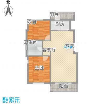 远洋风景85.00㎡户型2室2厅1卫1厨