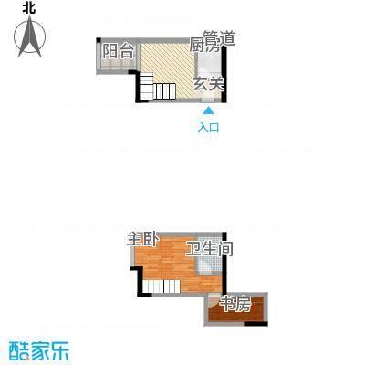 御景华城2.10㎡四期12号楼复式B户型2室1厅1卫1厨