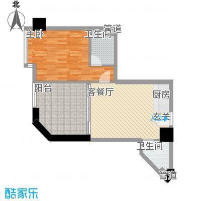 禹洲世贸国际73.16㎡二期B栋10-27层02户型1室2厅2卫1厨