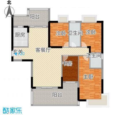 朗晴假日157.60㎡3栋3座02户型4室2厅2卫1厨