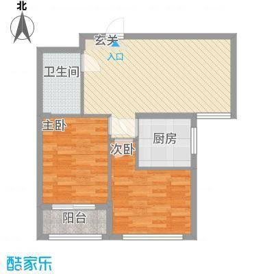 栋盛苑82.78㎡3号楼Q户型2室2厅1卫1厨