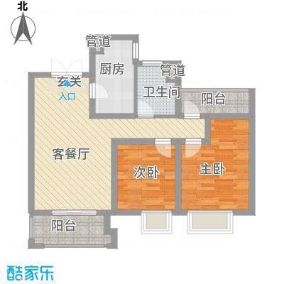 世茂国际广场87.00㎡1#B户型2室2厅1卫1厨