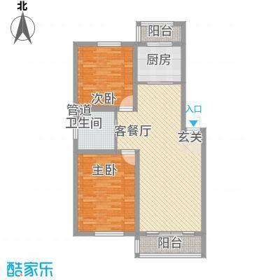 耀江五月花苑7.47㎡K户型2室2厅1卫