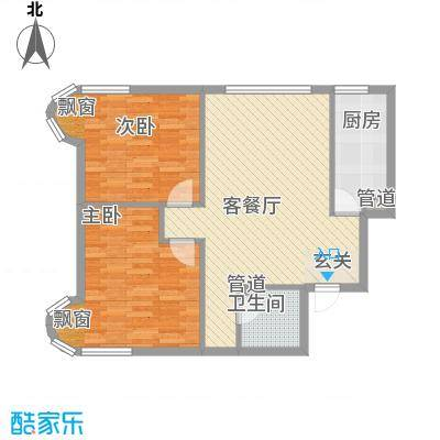 渤海明珠85.50㎡户型2室2厅1卫