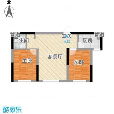 泰盈十里锦城75.64㎡B1户型2室2厅1卫1厨