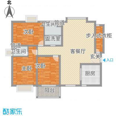 阳光・城市花园13.00㎡户型3室3厅2卫1厨