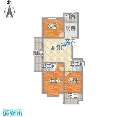 金邸山庄136.10㎡2号楼M户型3室2厅2卫1厨