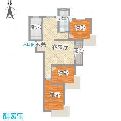 海信慧园121.00㎡西区高层户型3室2厅1卫1厨
