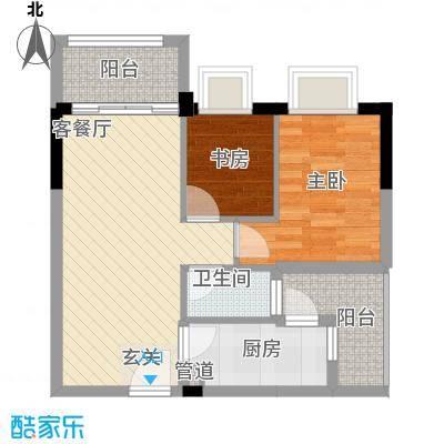 简爱社区55.76㎡简变A01户型2室2厅1卫1厨