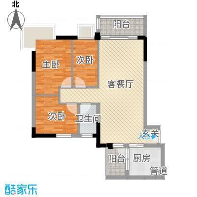 简爱社区8.88㎡简明A02户型3室2厅1卫