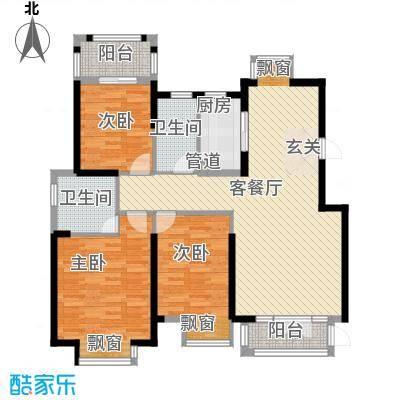 海投天湖城17.21㎡1-7号楼标准层D户型3室2厅2卫1厨
