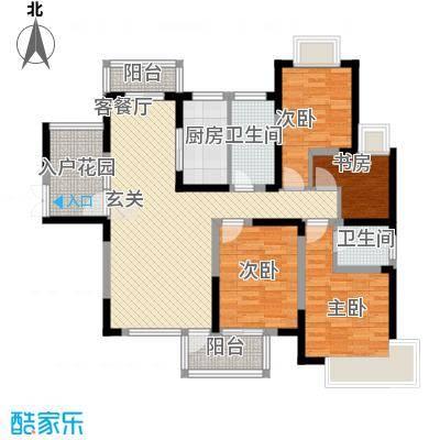 南光・洛龙湾壹号141.00㎡高层G5户型4室2厅2卫1厨