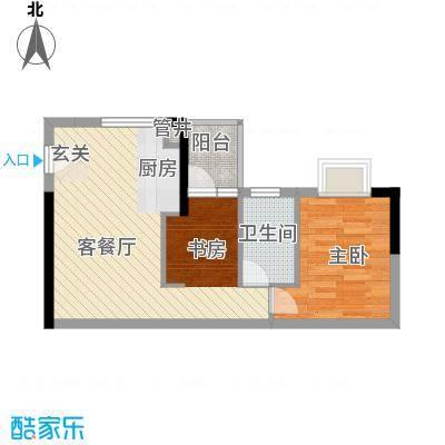 润宇豪庭57.72㎡A2户型2室1厅1卫