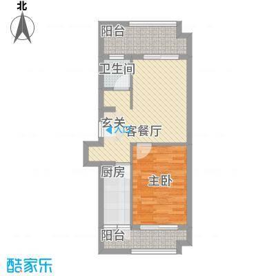 宜化绿洲新城5.20㎡二期1号楼J户型1室2厅1卫1厨