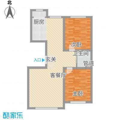 龙泰富苑17.12㎡户型2室2厅1卫