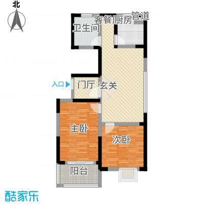 名校嘉园5.28㎡一期标准层C户型2室2厅1卫1厨