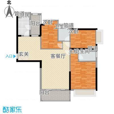 中颐海伦堡127.24㎡三期17座3-28层标准层01号房户型3室2厅2卫