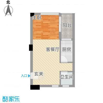 恒和主场47.16㎡H户型1室1厅1卫