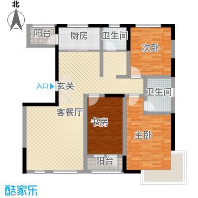 绿地新里中央公馆136.00㎡7栋B户型3室2厅2卫