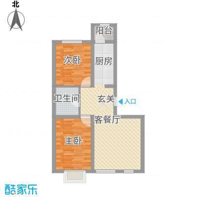 绿地新里中央公馆82.53㎡A2栋b户型2室2厅1卫1厨