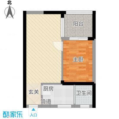 世纪铂爵5.72㎡1单元6户型1室2厅1卫