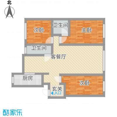 江畔花园户型2室