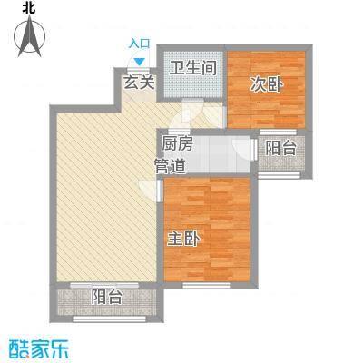 中宏美丽园二期85.81㎡D户型2室2厅1卫1厨