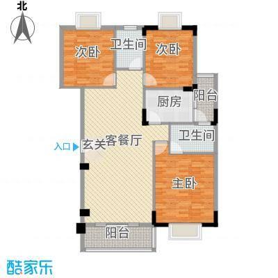 锦绣豪苑122.00㎡锦绣前城A4户型3室2厅2卫1厨