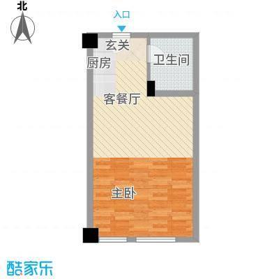 旺第嘉华52.46㎡27号楼11号12号13号14号房型户型1室1厅1卫1厨