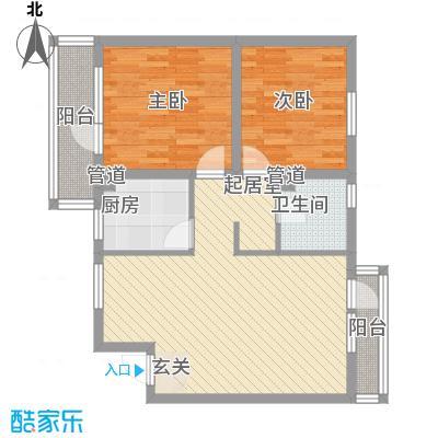 曹妃甸国际生态城万年丽海花城H5户型2室2厅1卫1厨