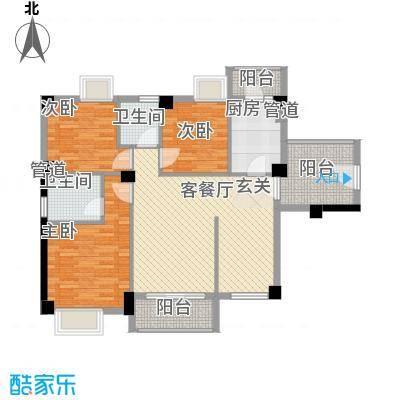 招商花园城112.65㎡I户型3室2厅2卫1厨
