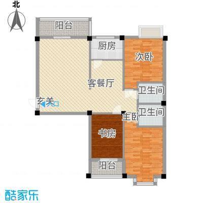 鑫瑞学府花园03单元A户型3室2厅2卫1厨