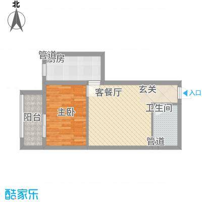 燕丰园46.00㎡12号楼C户型1室2厅1卫1厨