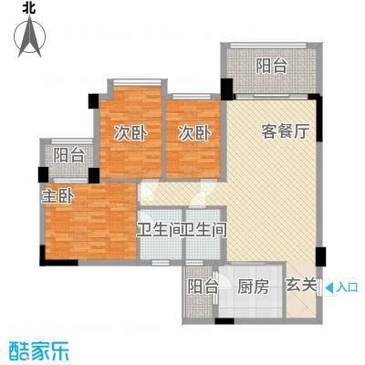 南山诗意122.00㎡户型3室2厅2卫