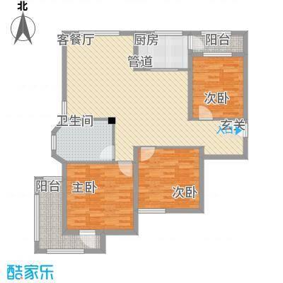 海情丽都116.54㎡高层C户型3室2厅1卫1厨
