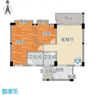 碧翠华庭88.00㎡5/6号楼01/02单位户型2室2厅2卫1厨