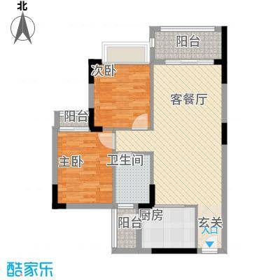 阳光粤港三期82.20㎡30栋3层01户型2室2厅1卫1厨