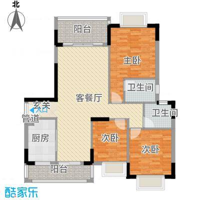 汇豪新天地153.50㎡15栋标准层02单位户型3室2厅2卫1厨
