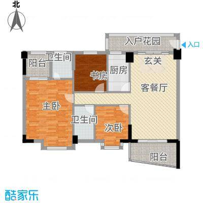 园洲中心花园121.00㎡雅居苑B2户型3室2厅2卫1厨
