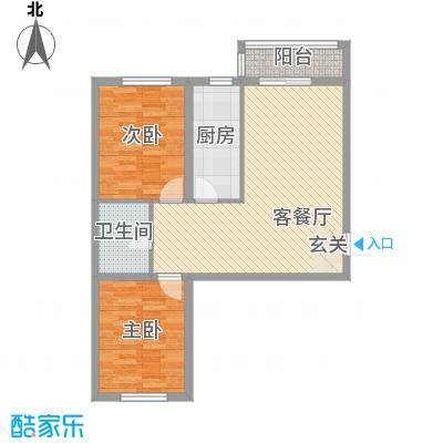 盛秦福第4.36㎡D户型2室2厅1卫