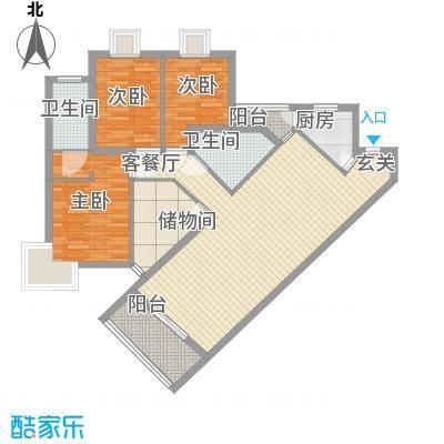 中铭豪园124.31㎡1112栋cf户型3室2厅2卫1厨