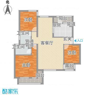 首创隽府128.00㎡三期36#4层D户型3室2厅2卫