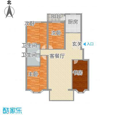 北岸明珠133.73㎡A户型4室2厅2卫1厨